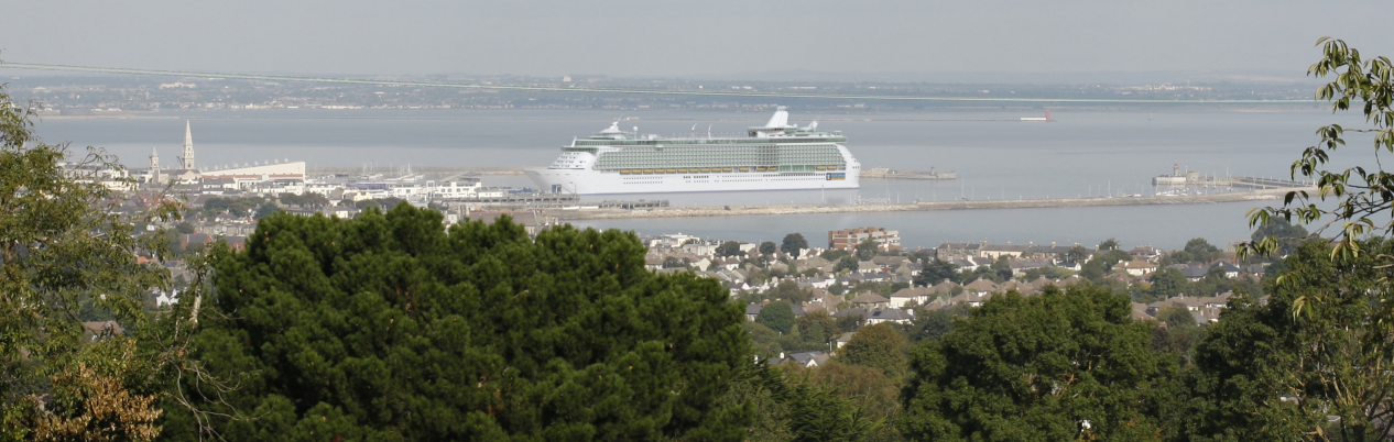 Photo montage of proposed cruise ship dock in Dun Laoghaire as seen from Killiney Hill