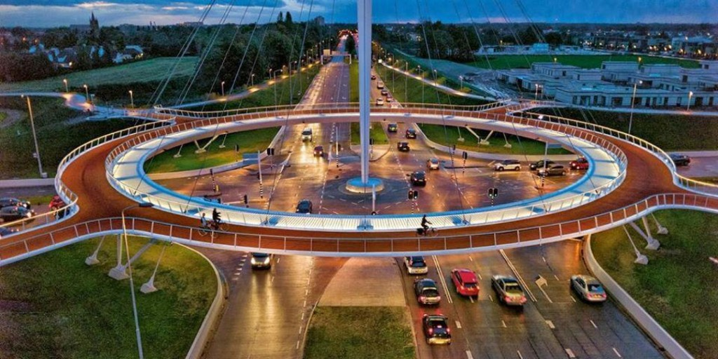 Eindhoven suspended bicycle roundabout