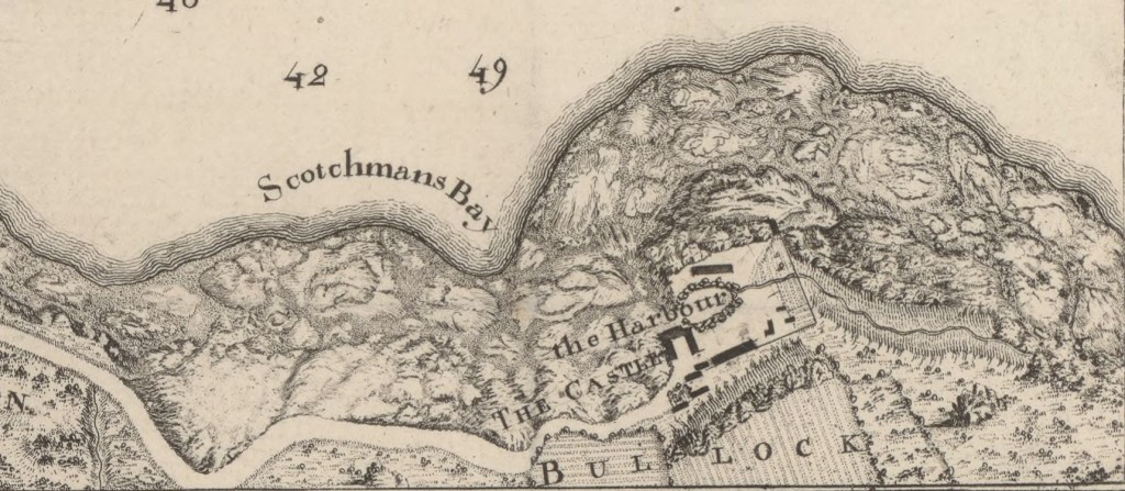 "John Rocque's map of ""Bullock"" from 1757"