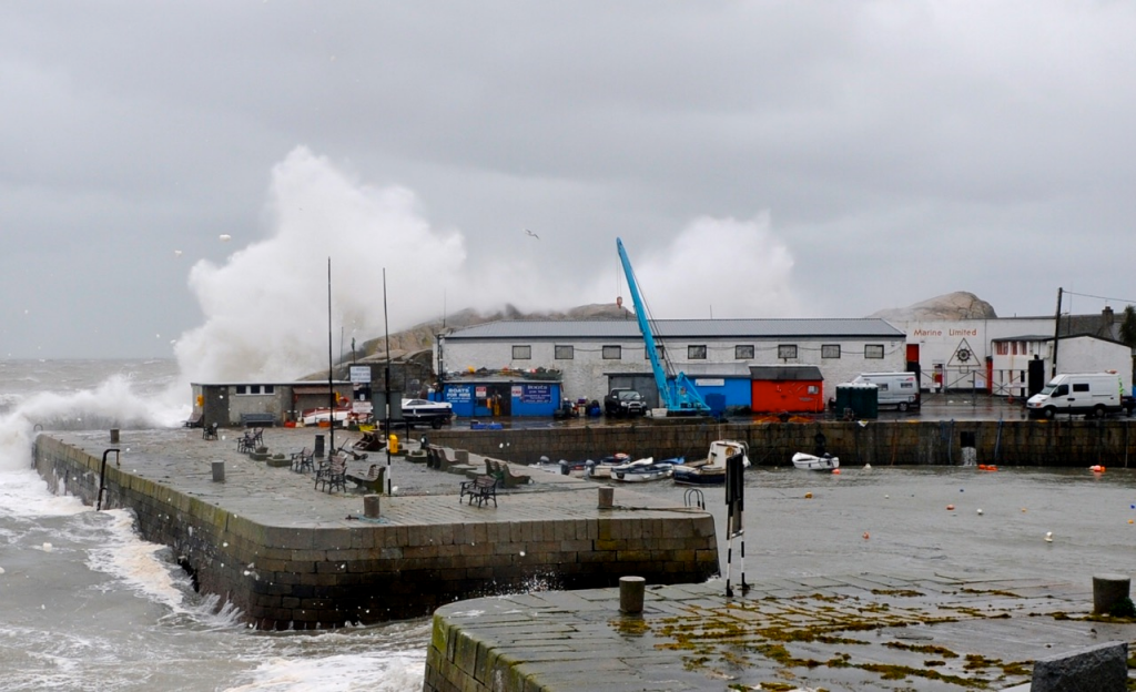 Storms bring high waves crashing over the site.
